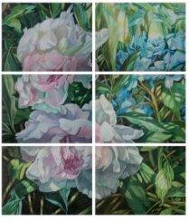 Картина «Жизнь сада. Пионы и гортензия»